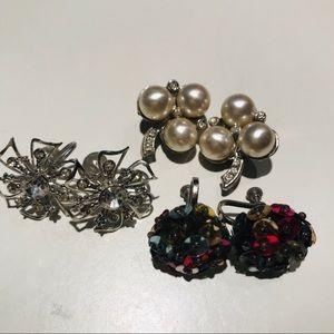 Vintage Clip On Bundle - Silver, Pearls & Sequins